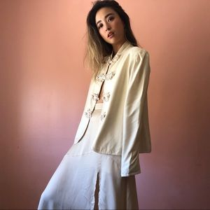 Vintage Chinoiserie Ivory Silk Blouse